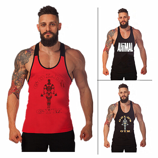 Brand Famous Gold Gym Shark Vest Bodybuilding Stringer Fitness Spaghetti Straps Tank Top Men Fashion o-neck Cotton Gymshark XXL(China (Mainland))