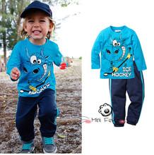 RC0214 new 2015 autumn children's clothing set children boys girls cotton long T-shirt + pant 2pcs. sets baby clothes track suit(China (Mainland))