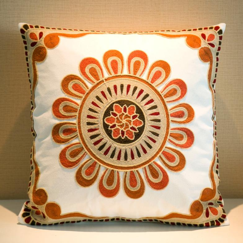 "embroidery pillowalmofadas""Red Sun flower pattern"" fancy cars pillow custom rustic auto 4S shop gifts(China (Mainland))"
