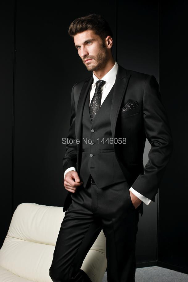 2018 Wholesale Custom Made Black Mens Suits With Pants Slim Fit ...