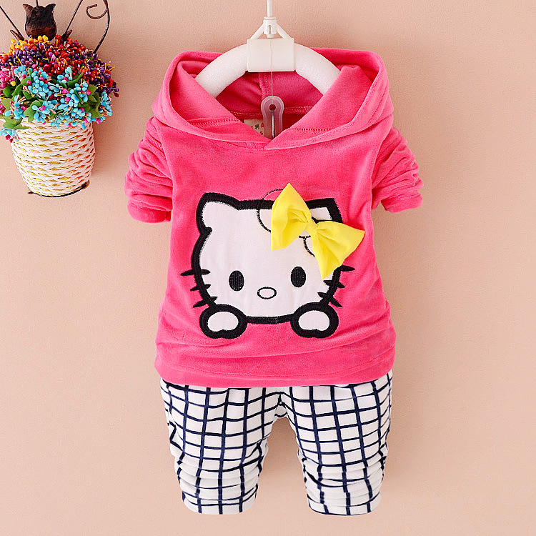 Autumn hello kitty children Clothing sets infant clothes Hoodies+pant sport suit winter baby girl clothes kids clothes(China (Mainland))