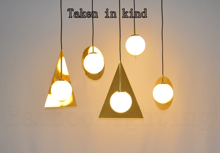 25 cm Gold plane round LED Pendant Lamp Circle metal white glass ball chandelier Light Linear Pendant System(China (Mainland))