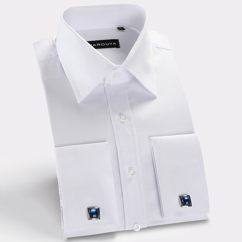 New 2015 french cuff mens dress shirts long sleeve spring for Mens french cuff shirts