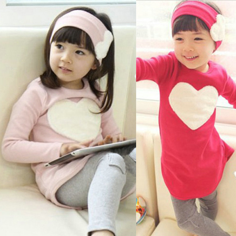 Toddler Girls Clothing Sets Baby Kids Heart Shirt Dress+Leggings+Headband Kids 3PCS Cotton Outfit 2--7Y(China (Mainland))