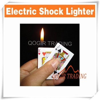 Portable Poker Card Shape Electric Shock Lighter Gift D8231