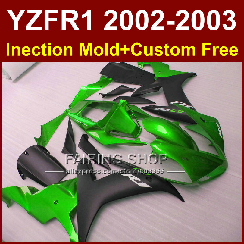 Green black body repair parts for YAMAHA YZFR1 2002 2003 fairings yzf r1 YZF1000 02 03 bodyworks aftermarket+7gifts(China (Mainland))