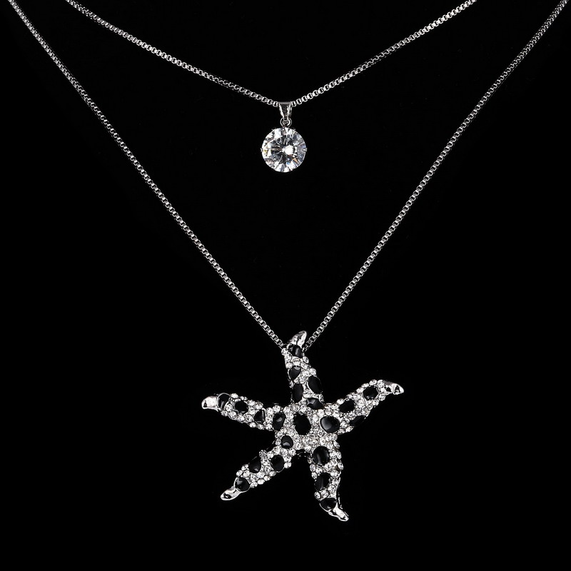 HotFashion Two Chain Sea Star Necklace Long Necklace Jewelry Crystal Pendant For Women(China (Mainland))