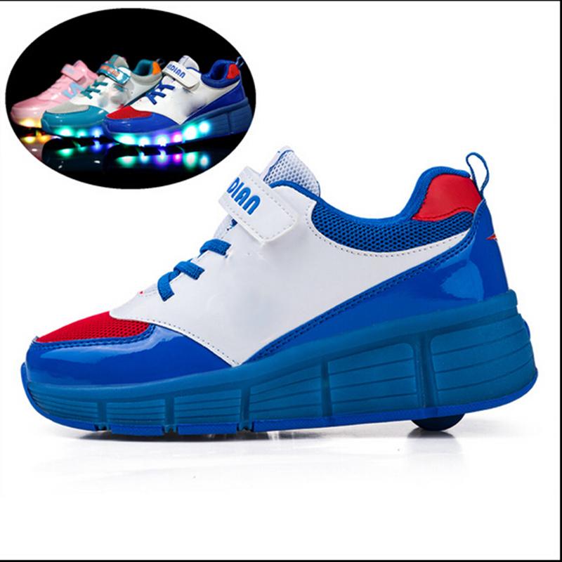 2015 Children Kids Fashion Sneakers one/two Wheels Boys Girls Skate Roller Shoes Light Men Women 28-43
