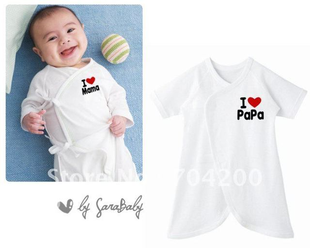 20pcs/lot-short sleeve I love papa and l love mama Baby Rompers-Loving Heart Baby one piece/Babysuits/Baby Rompers Butterfly