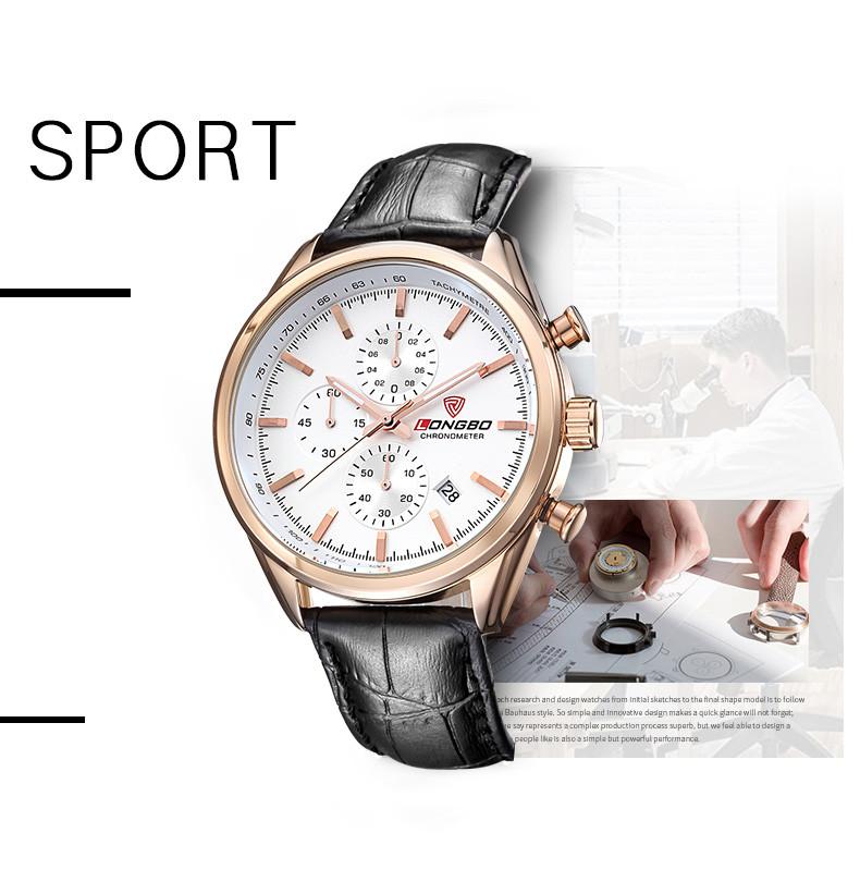 LONGBO Спортивные 6pin часы мужчины световой календарь нержавеющей стали наручные часы водонепроницаемый большой циферблат кварцевые часы 80179