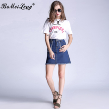 2016 High Quality Women's Skirts Jeans High Waist Big Pockets Tassel Mini Skirt Femme Denim Casual A Line Plus Size S-5XL