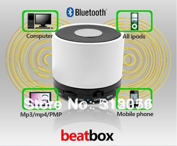 2013 beatbox Mini Bluetooth speaker for iphone4s/iphone 5 hot selling  wholesale several color red white silver blue