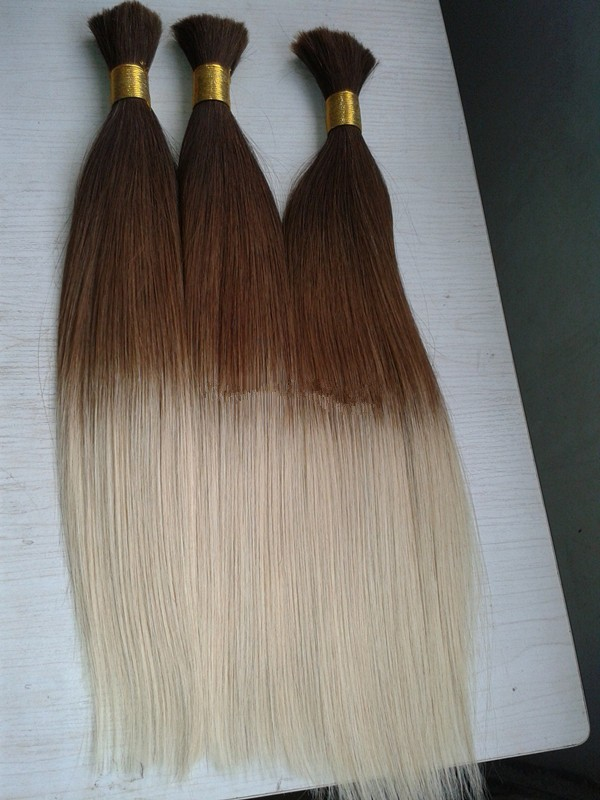Grade 6A Ombre Hair Bulk For Braiding Brazilian Virgin Human Braiding Hair Bulk No Weft Ombre Hair Bulk T4/613