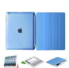 case for  iPad 4 3 2  Ultra Thin Magnetic with Stand PU Leather Retina Smart Cover for iPad 4, PU Front Plastic Back Cover