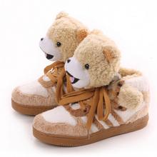 2017 Fashion Men Cute Casual Shoes Winter Warm Shoes Lace-up Plush Teddy Bear Panda Comfort Couple Shoes EUR 35-44(China (Mainland))