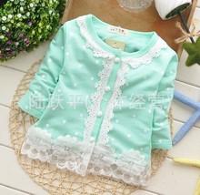 Good Quality Fashion Newest Baby Kids Girls Children Dot Lace cotton Shirts Tee T-shirts Long Sleeve Free Shipping(China (Mainland))