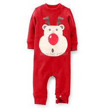 Merry christmas Baby Boys&Girls Cartoon Rompers New Design Pure Color  Buttons Pants Kids Wear Children Clothes For Christmas(China (Mainland))