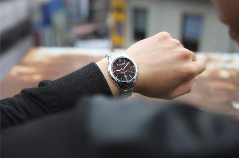 Топ мужские наручные часы юлий кварцевых часов лучший мода платье браслет из нержавеющей стали группа бизнес подарок на день рождения авто дата 086