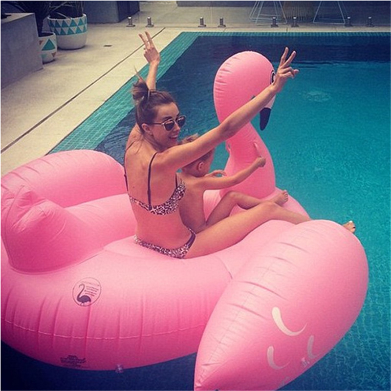 2016 hot summer 1.9M pink Swan Pool Inflatable Ride-On Pool Toy Float For Air Mattress Swimming Ring Water Fun Pool Toys 075(China (Mainland))
