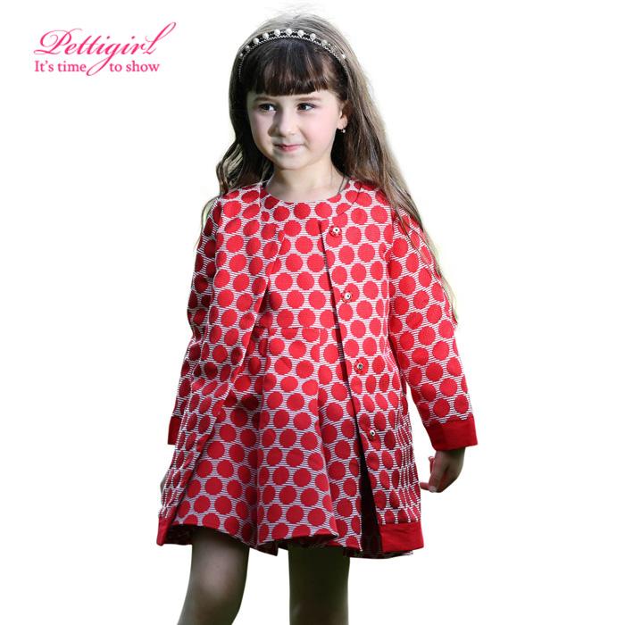 Pettigirl 2016 New Arrival Girls 2pcs Clothing Sets Fashion Red Dot Coat And Christmas Dress Retail Children Wear CS80710-19(China (Mainland))
