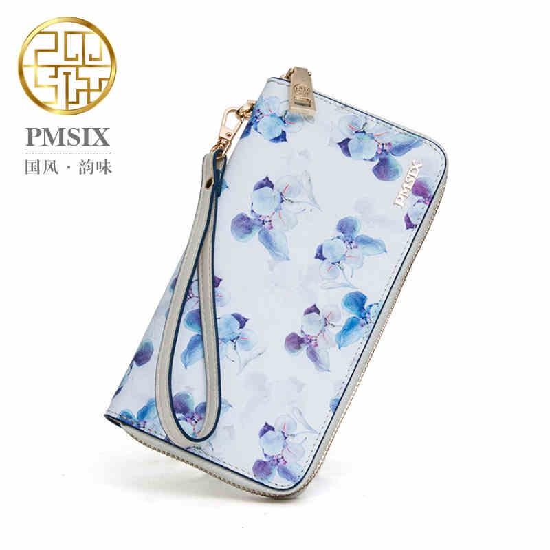 Pmsix 2016 Flower Print Women Brand Clutch Wallet Cattle Split Leather Long Zipper Ladies Cell Phone Wristlet Wallet 420004(China (Mainland))