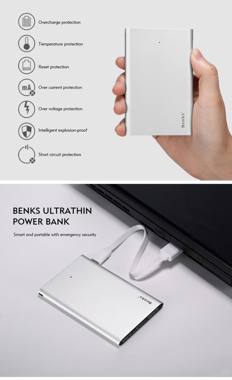 Benks Blade Series E300A 3000mAh Mini Ultra Thin 7.8mm Power Bank External Battery Protable Charger For Lightning Android Device