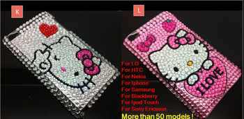 1 pcs/lot New Arrival Cute Hello Kitty Bling Diamond Crystal Rhinestone Case Cover Skin For Sony Xperia J ST26i