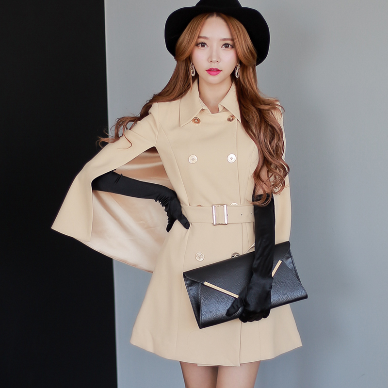 Original New Fashion 2014 Brand Spring and Autumn Light Beige Plus Size Slim Casual Trench Coat for Women Wholesale WholesaleОдежда и ак�е��уары<br><br><br>Aliexpress
