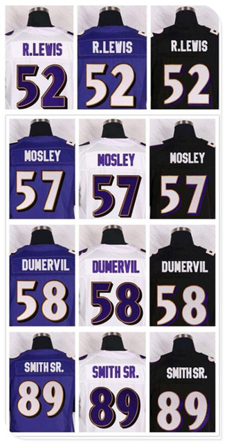 Football 52 Ray Lewis Jerseys, Cheap ravensere 57C.J. Mosley 5 Joe Flacco Jersey Black Purple White 3XL