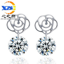 Whisper silver plated flower rose Zircon Earrings Earrings Jewelry New Creative Trend of pure white fungus(China (Mainland))