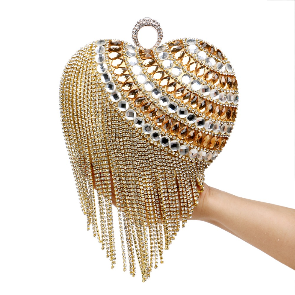 Heart Shaped Tassel Women Messenger Bags Finger Ring Diamonds Small Purse Day Clutches Handbgas For Party Dinner Wedding(China (Mainland))