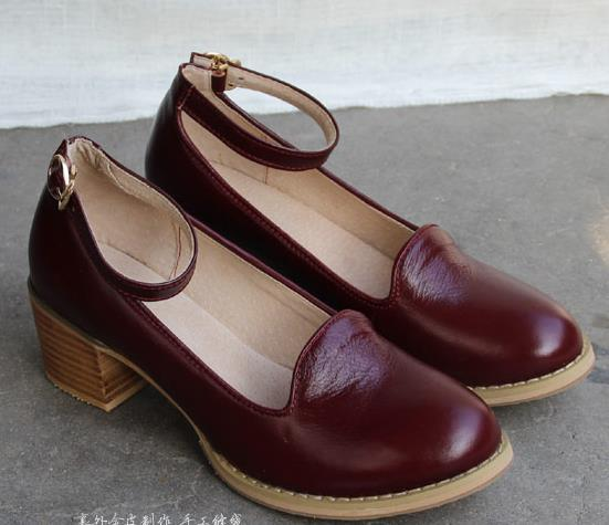 Leather women's shoes japanese