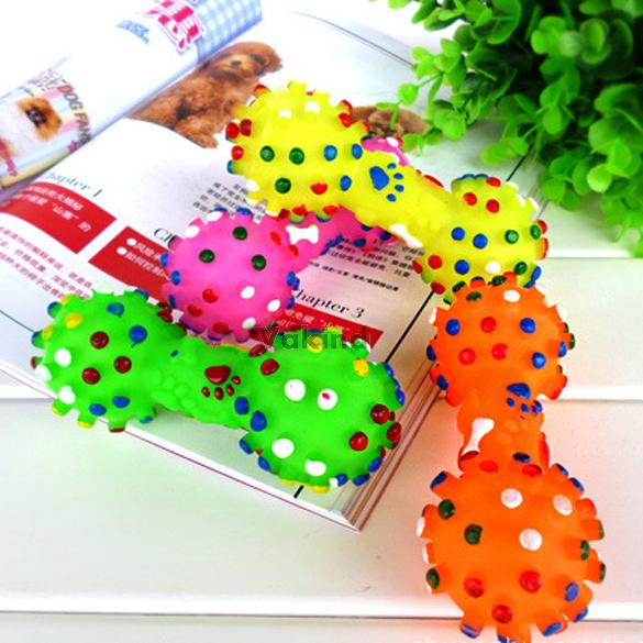 V1NF Colorful Dotted Dumbbell Shaped Squeeze Squeaky Faux Bone Pet Dog Toys Free Shipping(China (Mainland))