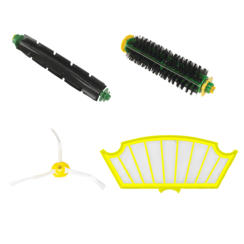 4 Pc/lot 3 Arms Sidebrush + filter kit replacement for Irobot Roomba 500 527 528 530 532 535 540 555 560 562 570 572 580 581 590(China (Mainland))
