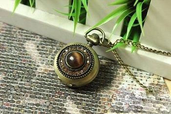 2010 new! Fashionable restore ancient ways set auger/dark brown green bronze small pocket watch/necklace Korean woman watches/qu