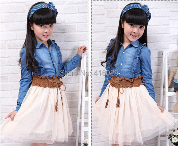 China brand new summer and autumn 2015 Korean girls Bud silk Cowboys long-sleeved shirt dress stitching(China (Mainland))