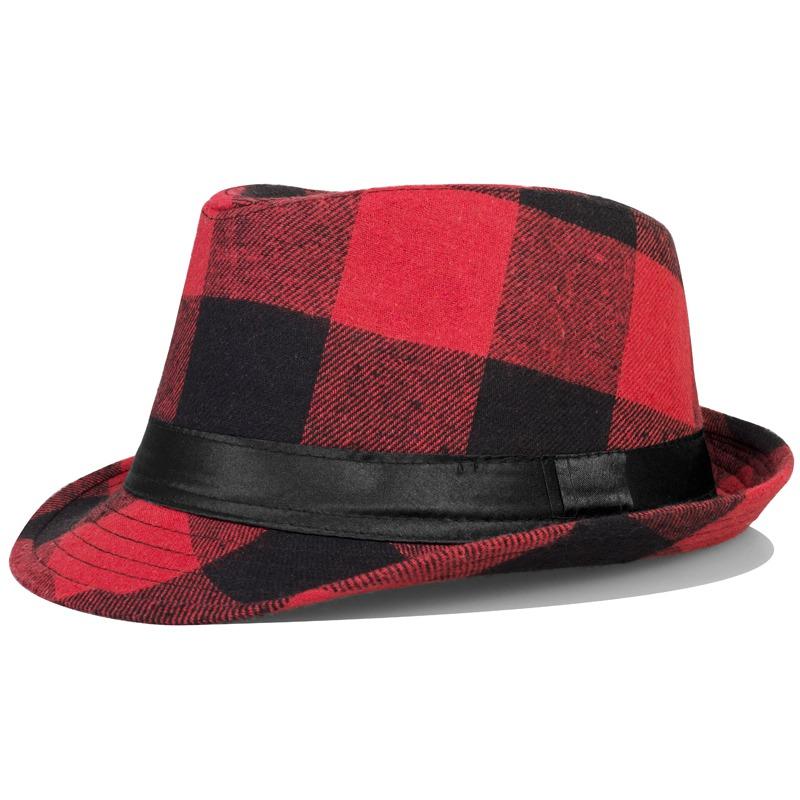 Large plaid fashion fedoras elegant gentleman hat fashion jazz hat outdoor casual cap(China (Mainland))