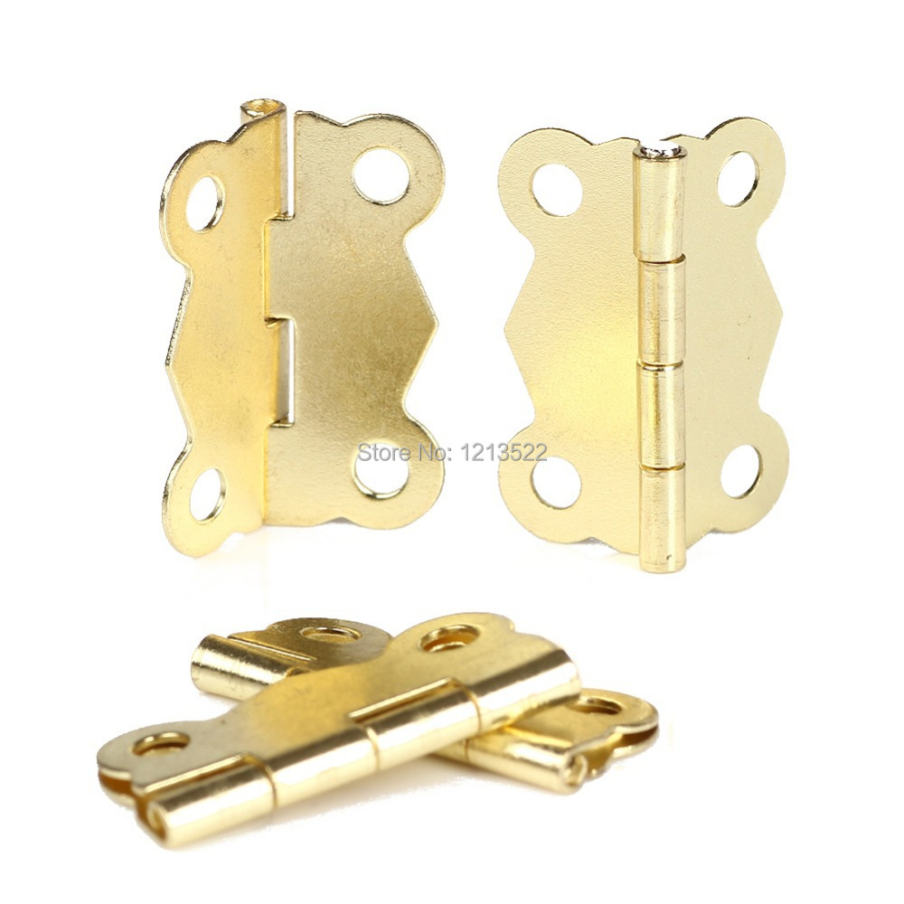 Vintage Brass Color Wholesale 10Pcs/set Mini Iron Butterfly Hinges Cabinet Drawer Door Butt Hinge DIY Repair Accessories(China (Mainland))