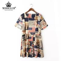 WISHCLUB 2015 New Fashion Women USA Flag Printed Dress Ladies High Quality Loose O-Neck T-Shirt Dress