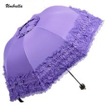 2016 Princess brand new creative folding umbrella sun umbrella vinyl lace parasol umbrellas arched UV shipping(China (Mainland))