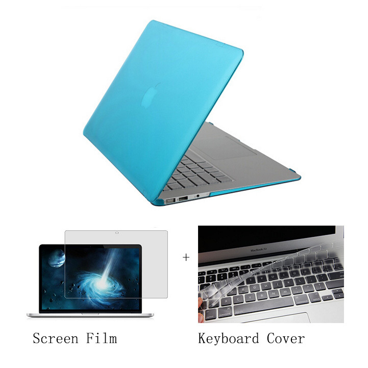 Rubberized clear Crystal/ Matte Hard Case Cover For Apple Macbook Pro 15 inch case+Keyboard Cover+Film para portatil laptop case(China (Mainland))