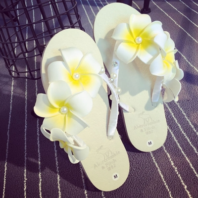 New Arrival Summer Style Women Shoes Sand Beach Slippers Flip Flop Flower Beading Women Slides Holiday Outdoor Shoes DR031(China (Mainland))