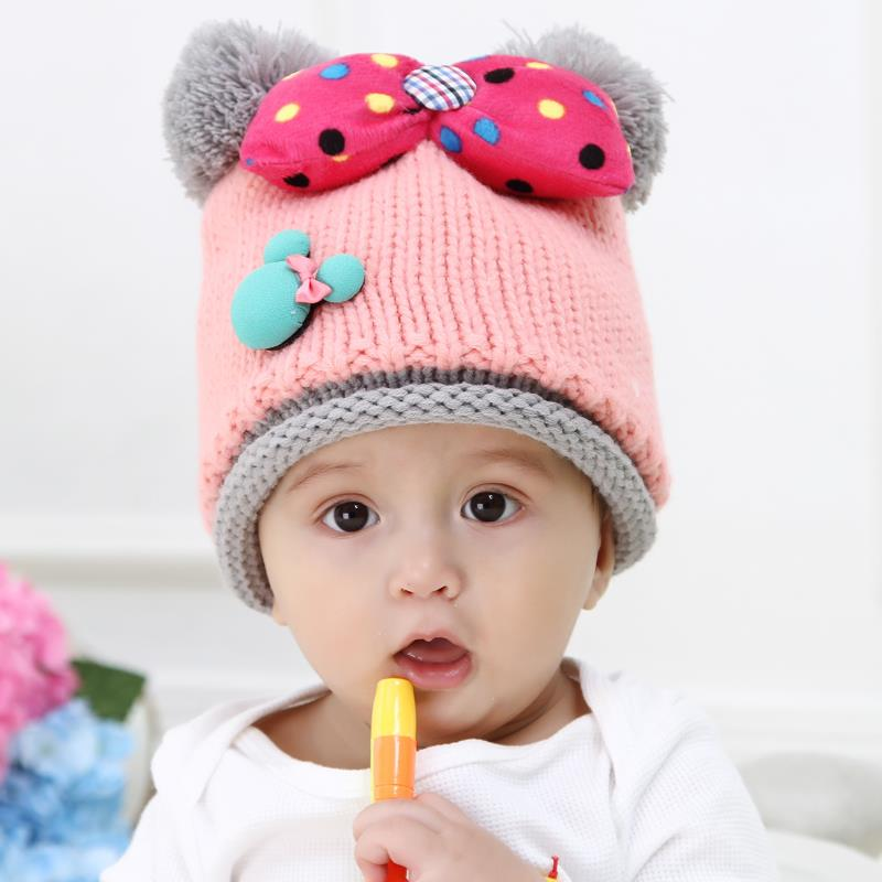 Baby Hats Mickey Design Baby Winter Caps With Bow Crochet Children's Beanie Hats For Baby Girl 2015 New Fashion Red Pink Blue(China (Mainland))