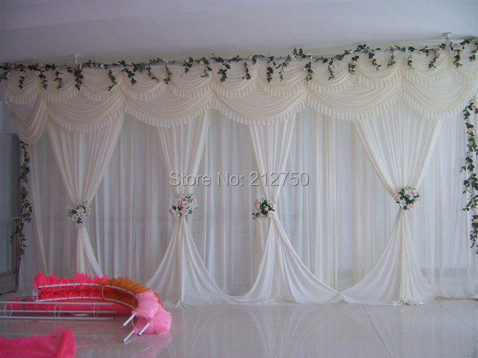 Buy white elegant wedding backdrop for Background curtain decoration