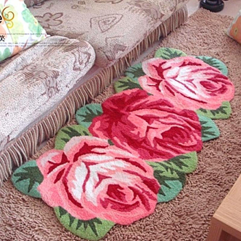 Hot sales high quality handmade 3 slitless rose art rug for bedroom/bedside art carpet romantic rose 126*65cm(China (Mainland))