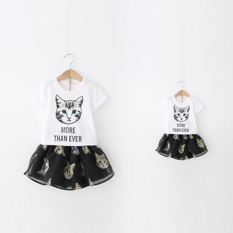New Summer Mother Daughter Dresses Cartoon Cat Family Matching Outfits T-shirt + Skirt Family Set Fashion Family Look(China (Mainland))