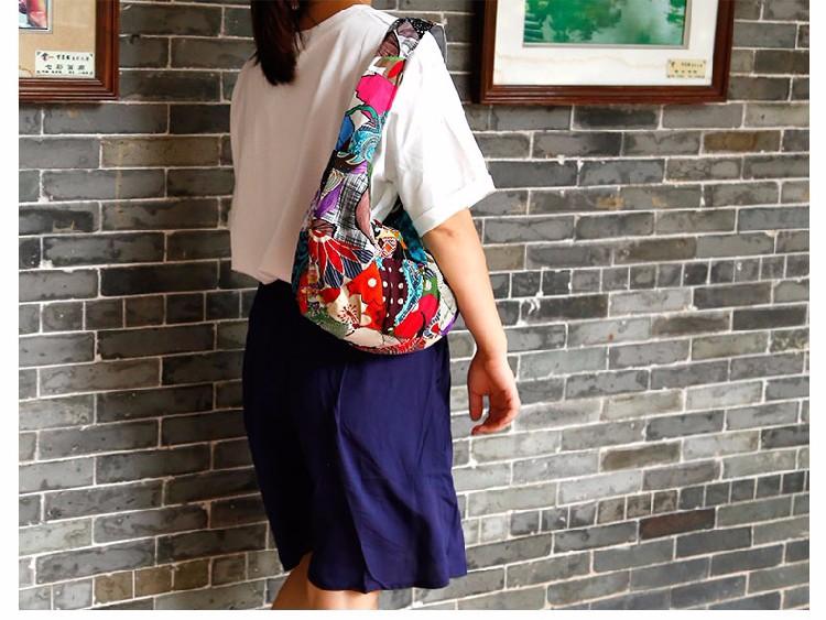 Women Girl Retro Ethnic Flower Embroidered Handmade Handbag Hmong Bag (3)