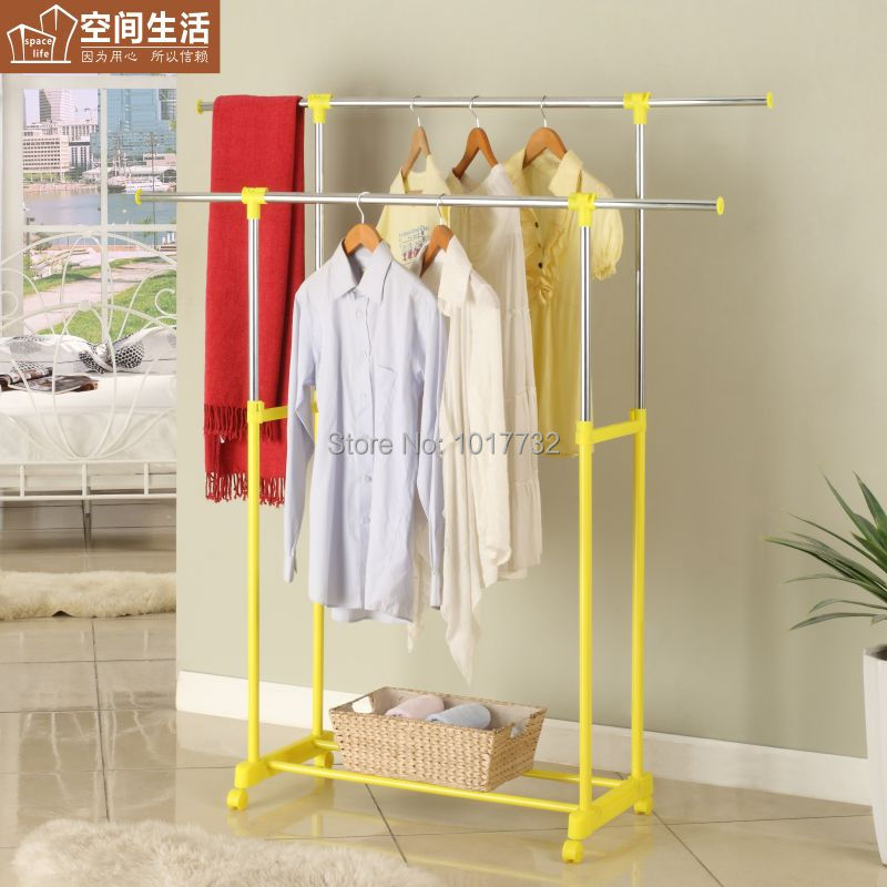 Yjs147172-ye double pole clothes hanger French retractable carbon steel clothing racks(China (Mainland))