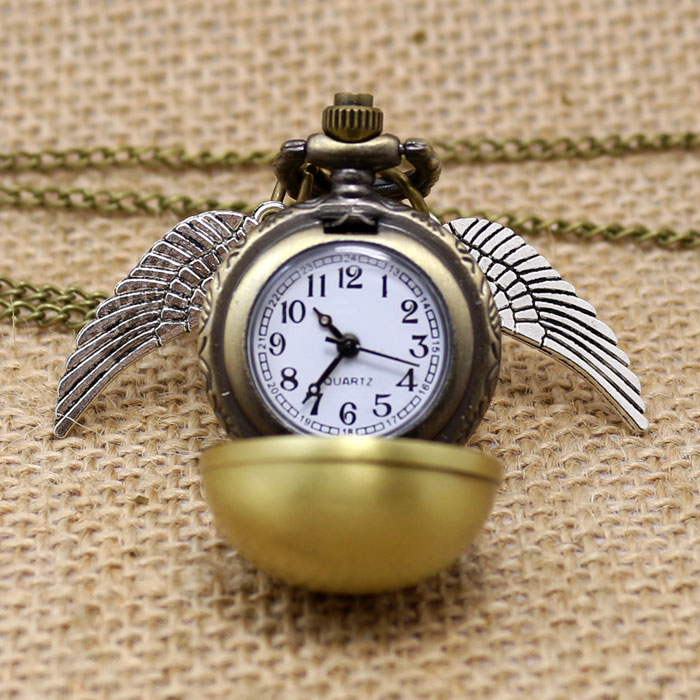 Harry Potter Theme Golden Snitch Quidditch Fob Pocket Watch With Necklace Chain Gift To Boys Girls <br><br>Aliexpress
