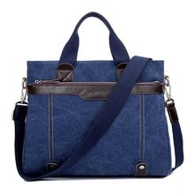 Canvas briefcase men bag Business OL crossbody bag fashion retro style Blue waterproof Messenger Bag Collocation cowhide fitting(China (Mainland))